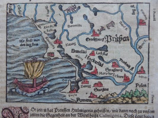 MUNSTER SEBASTIAN Mapa Prus [Kosmografia 1592 r.]