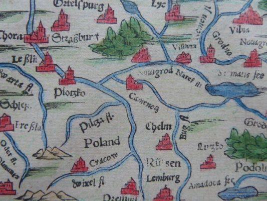 MUNSTER SEBASTIAN Mapa Polski [Kosmografia z 1592 r.]