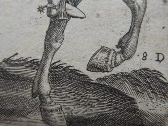ABRAHAM de BRUYN - Dworzanin belgijski – portret konny [miedzioryt]