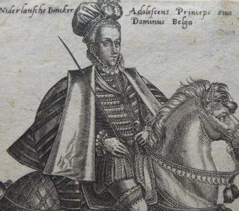 ABRAHAM de BRUYN - Dworzanin belgijski - portret konny [miedzioryt]