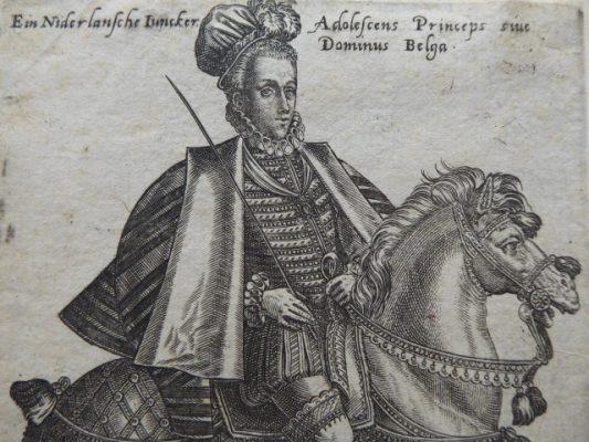 ABRAHAM de BRUYN Dworzanin belgijski – portret konny [miedzioryt]