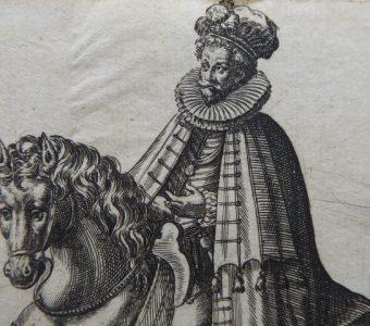 ABRAHAM de BRUYN - Szlachcic angielski - portret konny [miedzioryt]