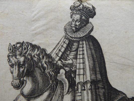 ABRAHAM de BRUYN Szlachcic angielski – portret konny [miedzioryt]