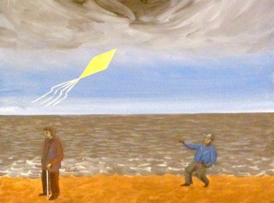 MODZELEWSKI JAROSŁAW Żółty latawiec [tempera na płótnie]
