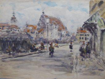 CIEŚLEWSKI TADEUSZ (ojciec) - Stare Miasto w Warszawie [akwarela]
