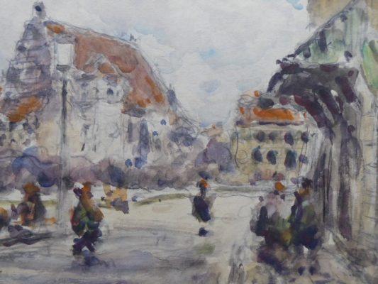 CIEŚLEWSKI TADEUSZ (ojciec) Stare Miasto w Warszawie [akwarela]