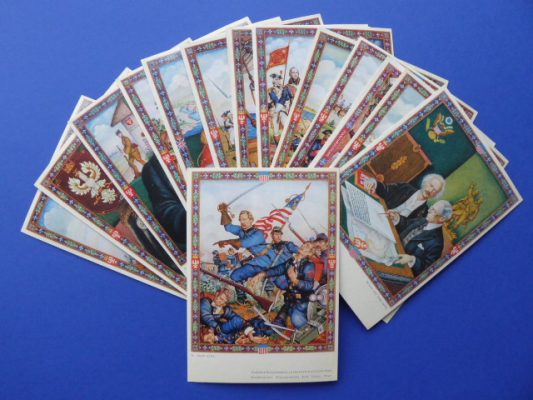 SZYK ARTUR Obrazy z Chlubnych Dni Braterstwa Polsko-Amerykańskiego [komplet pocztówek]