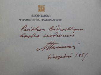 SŁONIMSKI ANTONI - Wspomnienia warszawskie [autograf]