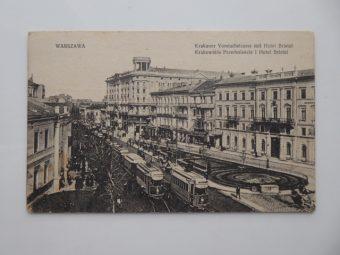 Warszawa. Krakowskie Przedmieście i Hotel Bristol [pocztówka]