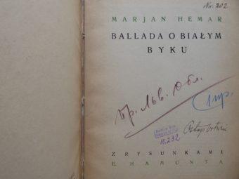 HEMAR MARJAN - Ballada o białym byku [egz. z dedykacją od Mariana Hemara]
