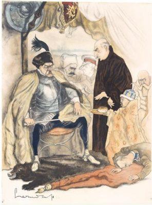 CZERMAŃSKI ZDZISŁAW Piłsudski jako Batory pod Pskowem [karykatura]