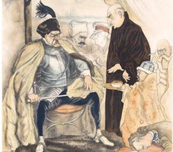 CZERMAŃSKI ZDZISŁAW - Piłsudski jako Batory pod Pskowem [karykatura]