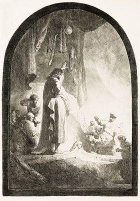 REMBRANDT HARMENSZOON van RIJN Wskrzeszenie Łazarza [akwaforta]