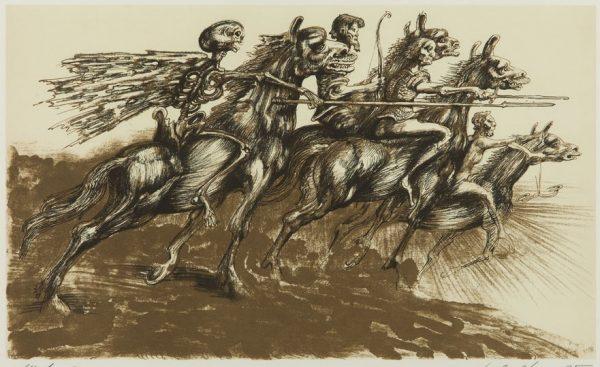 LEBENSTEIN JAN Jeźdźcy Apokalipsy [litografia]
