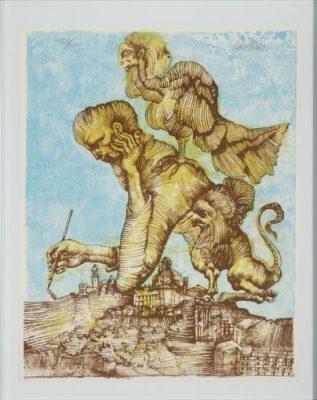 LEBENSTEIN JAN Artysta przy pracy [litografia]