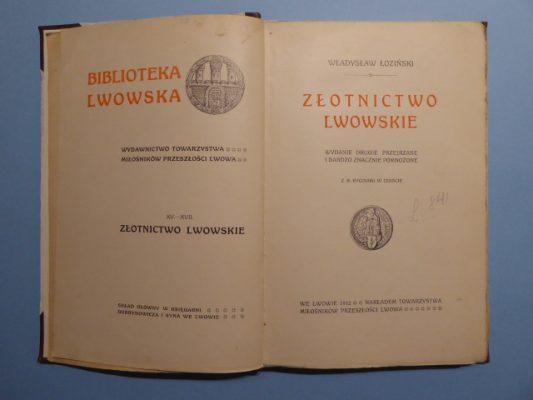 ŁOZIŃSKI WŁADYSŁAW Złotnictwo lwowskie XV-XVII w.