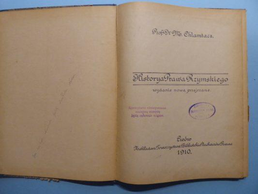 CHLAMKACZ M. Historya Prawa Rzymskiego