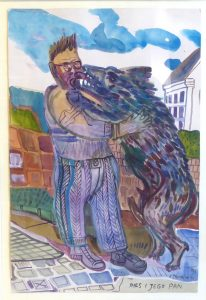 DWURNIK EDWARD - Pies i jego pan [akwarela]