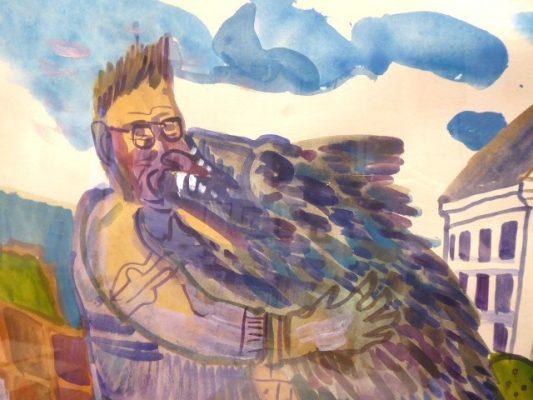 DWURNIK EDWARD Pies i jego pan [akwarela]