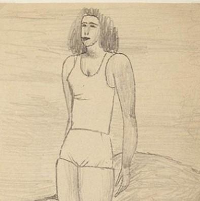 NOWOSIELSKI JERZY Pływaczka [rysunek ołówkiem]