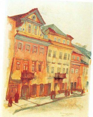 GUMOWSKI JAN Domy na ul. Szerokiej w Lublinie  [litografia]