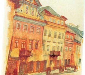 GUMOWSKI JAN - Domy na ul. Szerokiej w Lublinie  [litografia]