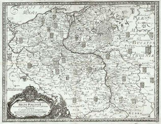 DAHLBERG ERIK Mapa Polski [miedzioryt]