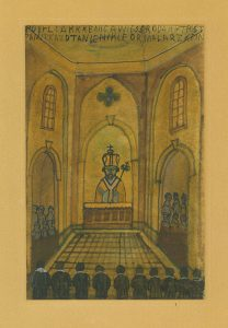NIKIFOR KRYNICKI - Wnętrze kościoła [akwarela]
