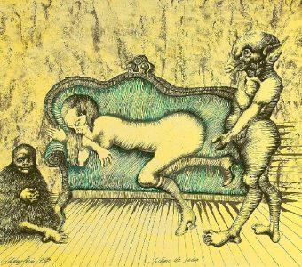 LEBENSTEIN JAN - Scena salonowa [litografia]