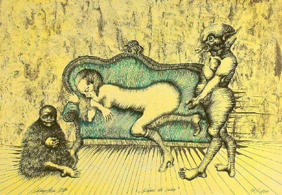 LEBENSTEIN JAN Scena salonowa [litografia]