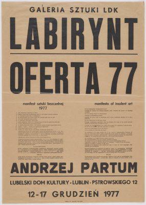 PARTUM ANDRZEJ Manifest Sztuki Bezczelnej [plakat]