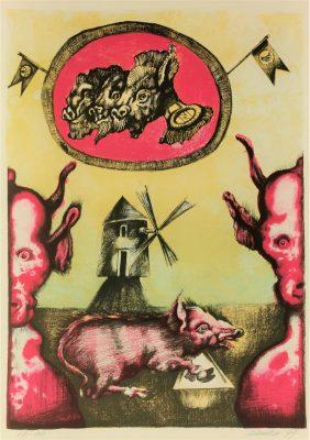 LEBENSTEIN JAN z cyklu Folwark zwierzęcy  [litografia sygnowana]