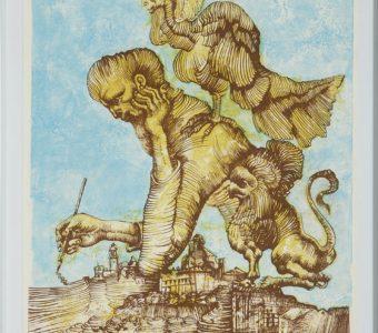 LEBENSTEIN JAN - Artysta i jego zmory [litografia sygnowana]