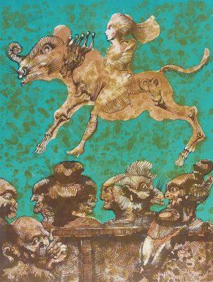 LEBENSTEIN JAN Zwierzęta [litografia sygnowana]