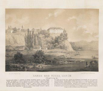 ORDA NAPOLEON - Sanok nad rzeką Sanem [litografia]