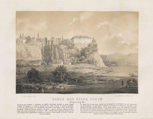 ORDA NAPOLEON Sanok nad rzeką Sanem [litografia]