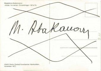 ABAKANOWICZ MAGDALENA - Karta pocztowa z autografem