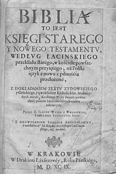 Biblia, to iest księgi Starego y Nowego Testamentu Kraków 1599