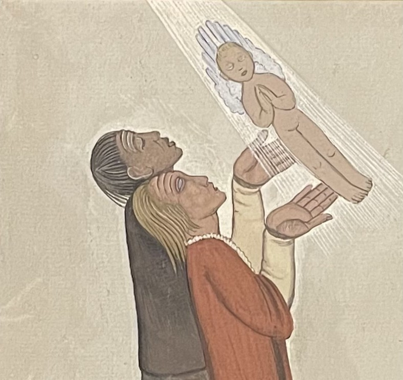 Modlitwa o dziecko [olej na tekturze]