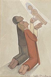 LAMBERT-RUCKI JEAN - Modlitwa o dziecko [olej na tekturze]