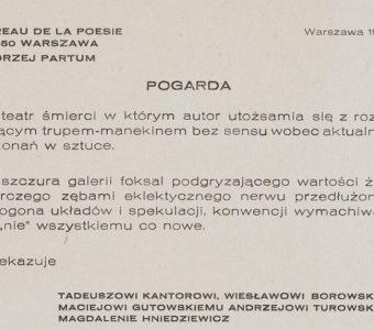 PARTUM ANDRZEJ - Pogarda [Biuro Poezji]