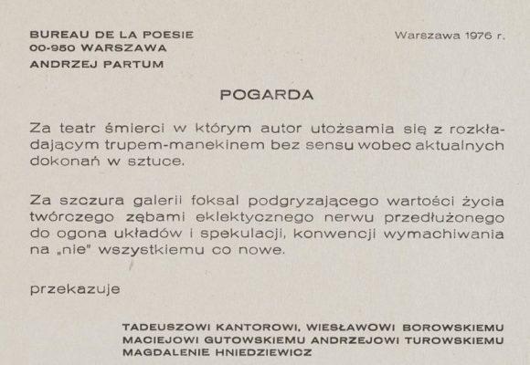 PARTUM ANDRZEJ Pogarda [Biuro Poezji]