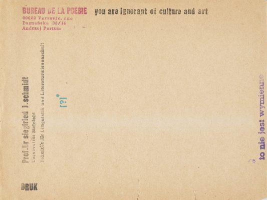 PARTUM ANDRZEJ You are ignorant of culture and art [Biuro Poezji]