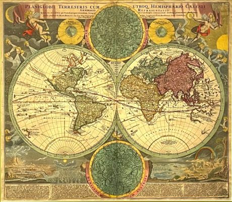 HOMANN JOHANN B. Mapa świata [miedzioryt]