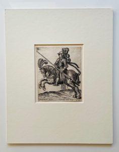ABRAHAM de BRUYN - Lansjer belgijski – portret konny [miedzioryt]